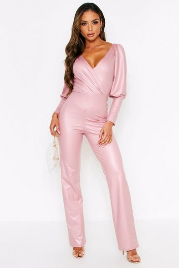Rose Wetlook Puff Shoulder Plunge Jumpsuit