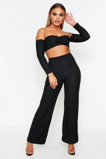 Black Bardot Crop Top + Wide Leg Trouser Coord