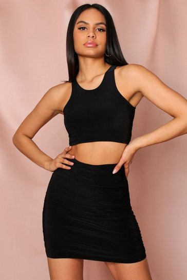 Black Slinky Ruched Mini Skirt and Crop Coord