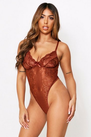 Womens Chocolate Lace Cupped High Leg Bodysuit