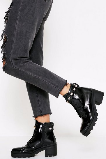 Womens Black Jeweled Strap Heeled Biker Boots Patent