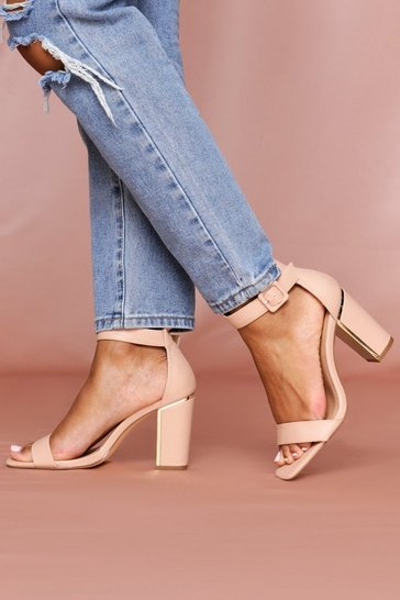 Nude Gold Plated Heeled Sandal Block Heel