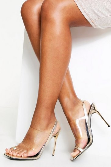 Womens Gold Mule/Sling Back