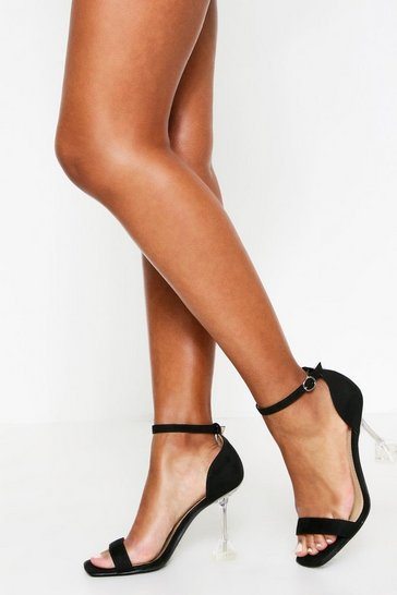 Womens Black Flare Heel