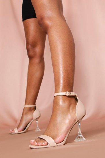 Womens Nude Clear Flare Heel