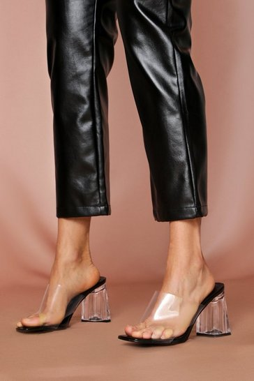 Womens Black Perspex Block Heel Mule