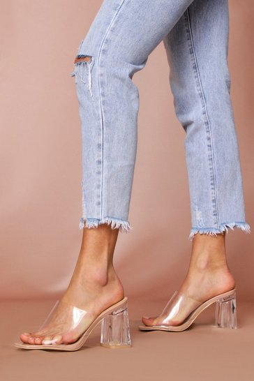 Nude Clear block heeled mules