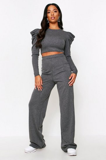 Womens Charcoal Puff Sleeve Wide Leg Lounge Set