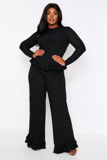 Womens Black Ruffle Hem Lounge Set