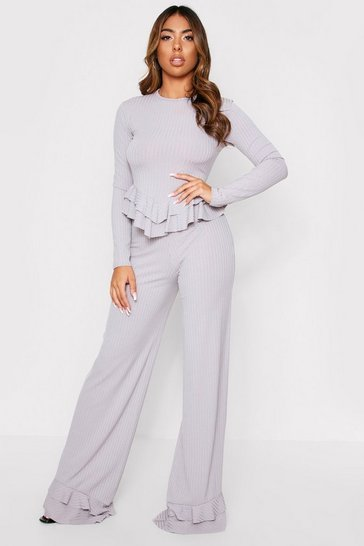 Womens Grey Ruffle Hem Lounge Set