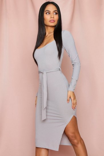 Grey Tie Waist Long Sleeve Rib Midi Dress