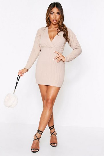 Womens Taupe Textured Plunge Wrap Mini Dress