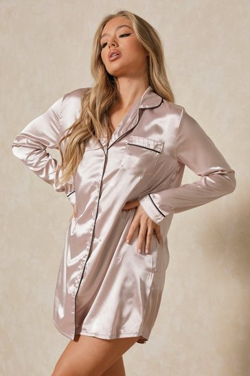 Mauve Satin Piping Detail Shirt Night Dress