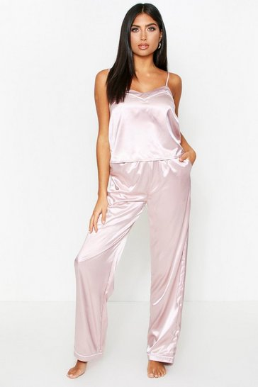 Mauve Contrast Trim Satin Trouser Pyjama Set