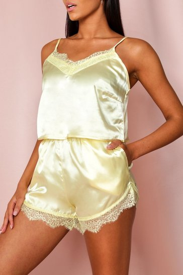 Lemon Lace Trim Satin Cami PJ Set