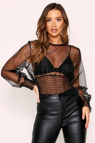 Womens Black Dobbie Mesh Sheering Detail Top