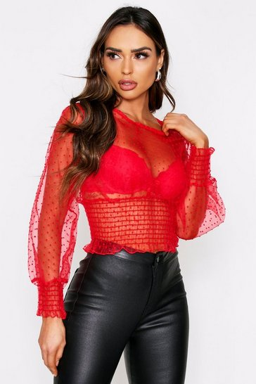 Womens Red Dobbie Mesh Sheering Detail Top
