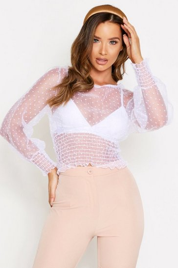 White Dobbie Mesh Sheering Detail Top