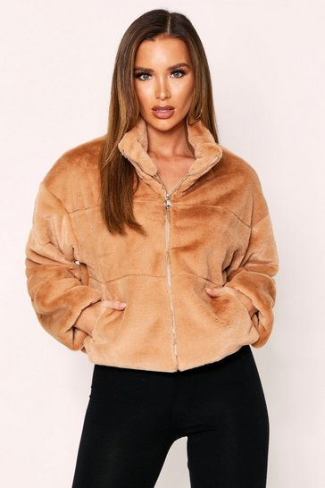 Camel Faux Fur Quilted Zip Front Jacket