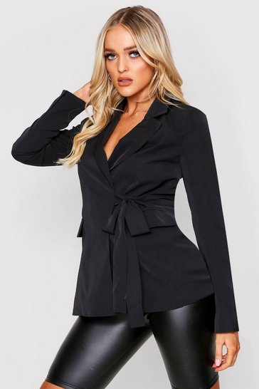 Black Silky Tie Side Tailored Blazer