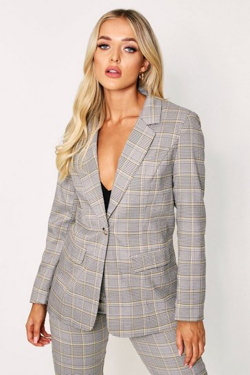 Grey Checked Tailored Blazer