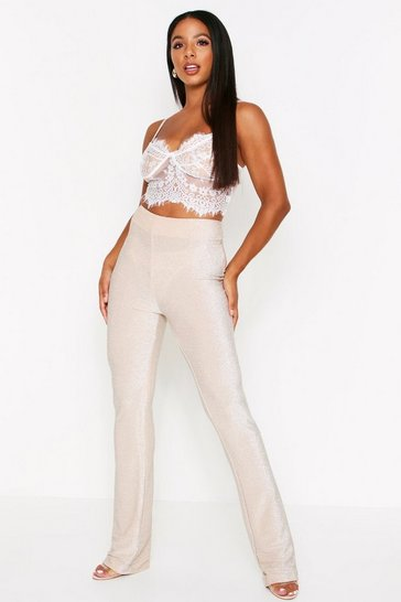 Womens Champagne Gliitter High Waisted Flared Leg Trousers