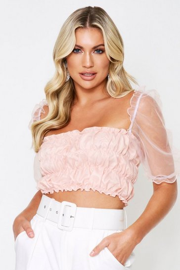 Womens Nude Organza Ruched Body Puff Sleeve Top