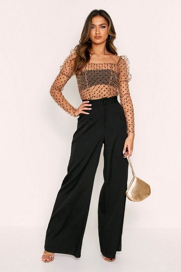 Nude Polka Dot Mesh Puff Shoulder Top