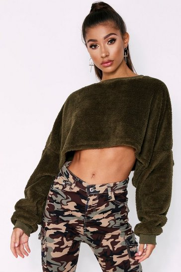 Khaki Teddy Fluffy Cropped Jumper