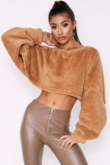 Womens Mocha Teddy Fluffy Cropped Jumper