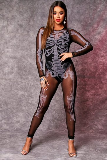 Womens Black Mesh Skeleton Print Catsuit