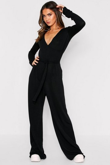 Womens Black Wrap Front Long Sleeve Lounge Jumpsuit