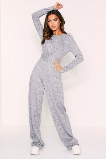 Womens Grey Twist Front Lounge Jumpsuit