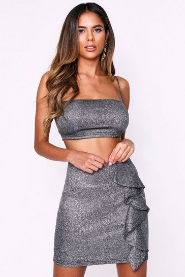 Womens Black Glitter Ruffle Skirt Co-Ord Set