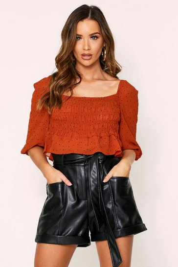 Rust Spotty Ruched Puff Shoulder Top