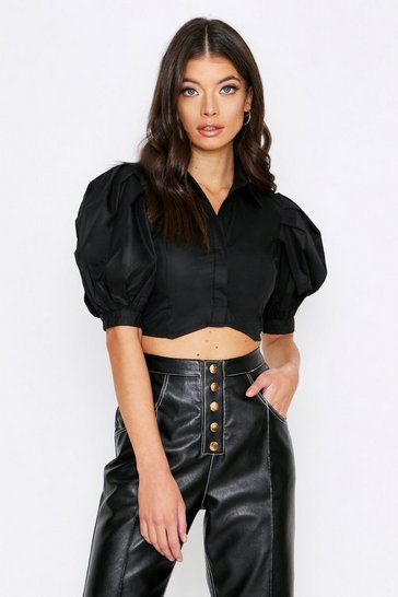 Black Puff Shoulder Cropped Shirt