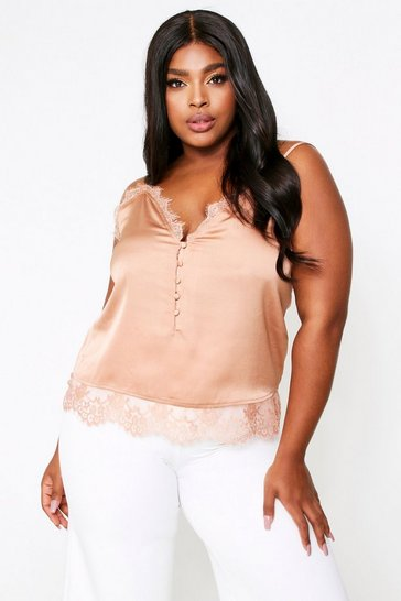 Womens Taupe Lace Trim Button Front Satin Cami Top
