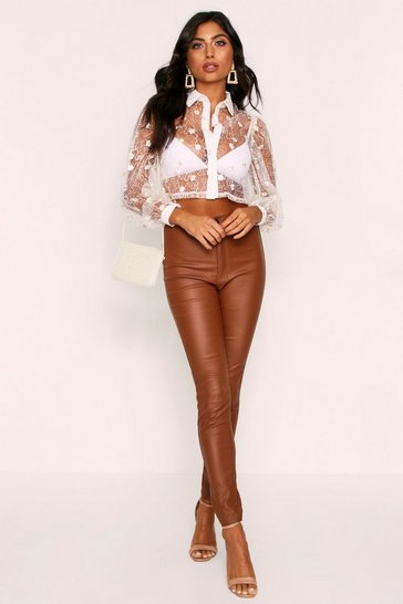 Womens Cream Floral Embroidered Lace Shirt