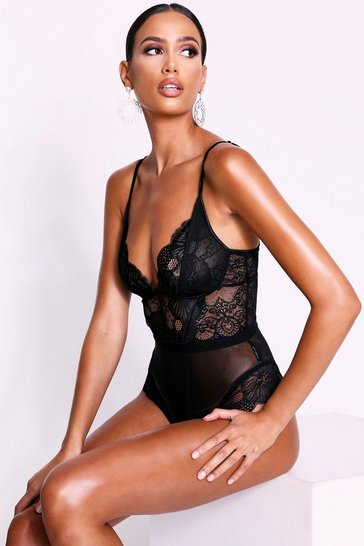 Womens Black Lace Mesh Waistband Frill Hem Bodysuit