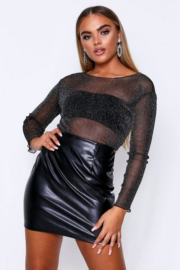 Womens Black Glitter Mesh Top
