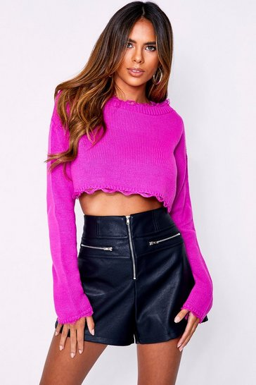 Womens Magenta Knitted Cropped Jumper