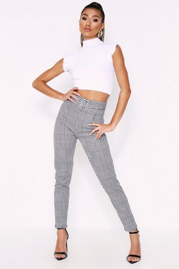 Womens Black Check Paper Bag Trousers