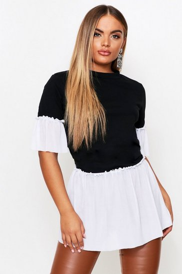 Womens Black Monochrome Mesh Ruffle T-Shirt