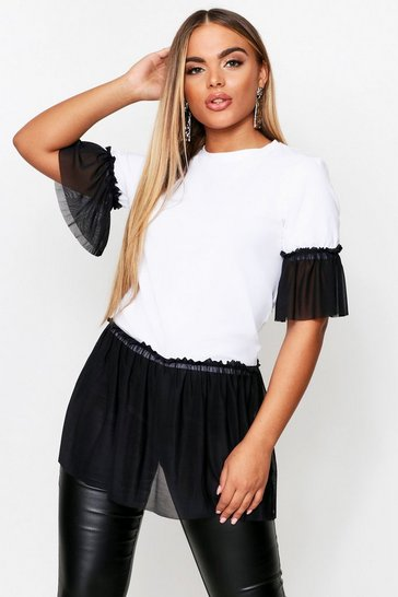 Womens White Monochrome Mesh Ruffle T-Shirt