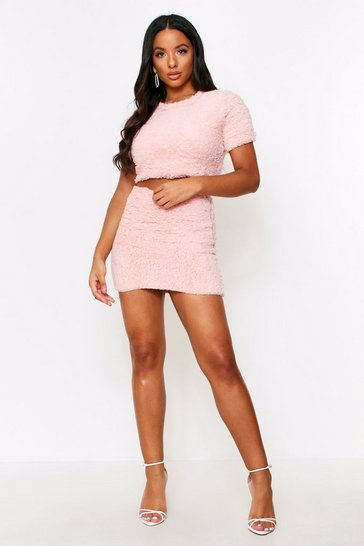 Womens Blush Teddy Fur Crop Top + Mini Skirt Coord
