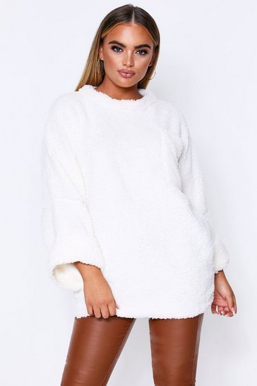 Womens Cream Teddy Fur Oversized Jumper