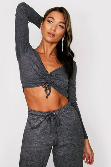 Womens Charcoal Ruched Front Ribbed Crop Top