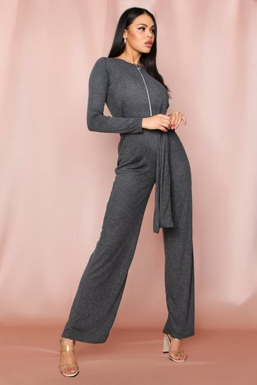 Womens Charcoal Zip Pull Ribbed Tie Waist Jumpsuit