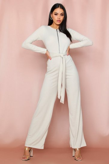 Womens Stone Zip Pull Ribbed Tie Waist Jumpsuit