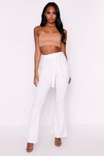 White High Waisted Belted Crepe Trousers
